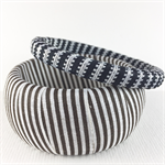 2 x Ribbon wrapped bangles - black and white stripe