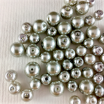 100 x glass pearls - silver mix