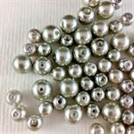 100 x glass pearls - silver mix