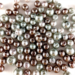 100 x glass pearls - pink and silver