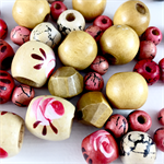 50 x wood beads in cream, pink and natural colours