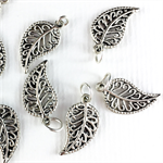 8 x metal leaf filagree charms