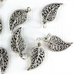 8 x metal leaf filagree charms