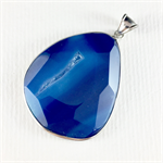Large gemstone pendant - cobalt blue with silver plated metal