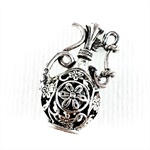 Genie bottle pendant - silver plated metal