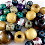 50 x wood beads in blue, purple and natural colours