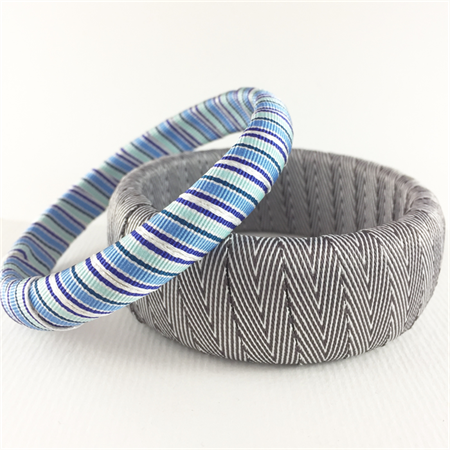 2 x Ribbon wrapped bangles - blue and grey stripe