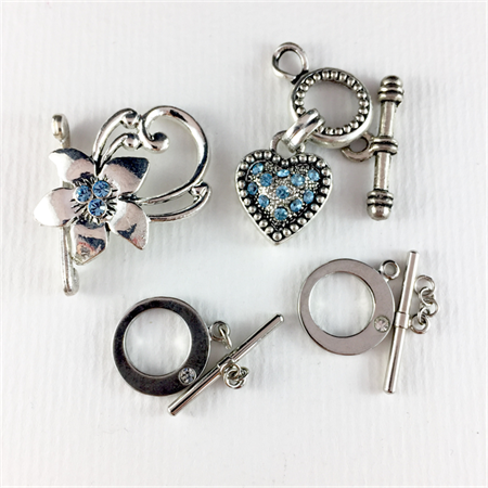 4x toggle clasps clasps with diamanté