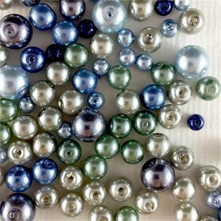 100 x glass pearls - blue, green and silver