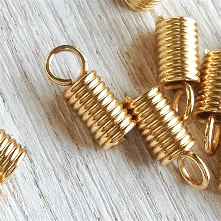 Leather coil ends, gold plated, pack of 30