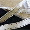 Ribbon Burgundy stitch Natural Organic Muslin 15 mm X 5 metres