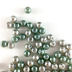 100 x glass pearls - green and silver mix