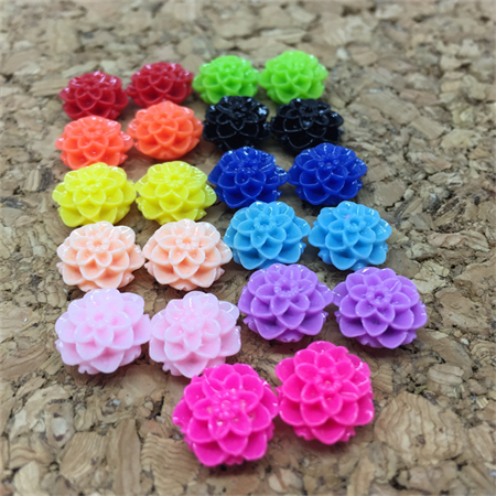Resin Flowers, Cabochons - 10mm Dahlias - 30pcs