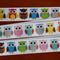 Ribbon Grosgrain Bright Multi coloured Owls  22 mm X 5 metres