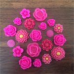 20pcs - Resin Flowers, Cabochons - Fuchsia
