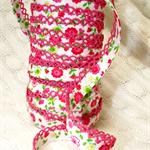 retro floral bias (double fold), decorative pink lace edge, 2.5mtrs ♥