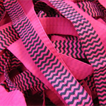 LAST ONE 5 Metres Pink and Black Chevron Soft Fold Over Elastic