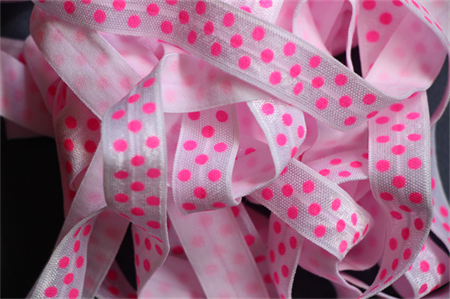 5 Metres White and Hot Pink Polka Dot Soft Fold Over Elastic