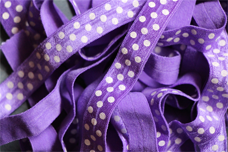 5 Metres Purple and White Polka Dot Soft Fold Over Elastic