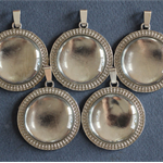 5 x 30mm Silver Pendant Trays with Bails and Glass Domes