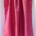 Pure Thai silk - shot handwoven handmade RED with MAUVE - PINK home decor, craft