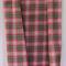 Handwoven Thai cotton fabric - handmade traditional RED BLACK GREY plaid