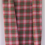 Handwoven Thai cotton fabric - handmade traditional RED BLACK GREY plaid
