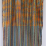 Handwoven Thai cotton handmade fabric - traditional BLUE ORANGE GREY plaid