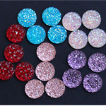 NEW DESIGN 20 Resin 12mm Sparkling Cabochons -5 Colours
