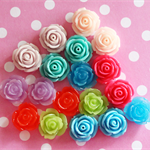 18 Resin Vintage Rose Cabochons