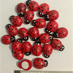 Lady bugs wooden (22) red with adhesive pad