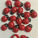 Lady bugs wooden (20) red with adhesive pad