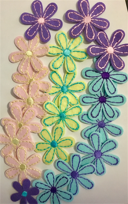 Embroidered Felt Flowers (20)