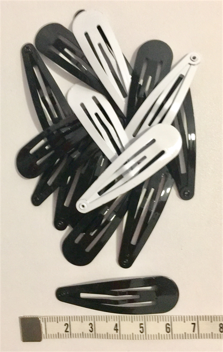 Hair clips 'snaps' (16) black and white