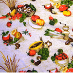 VINTAGE BARKCLOTH Destash, Retro Fruit, Vegetables, Kitchen, Cotton