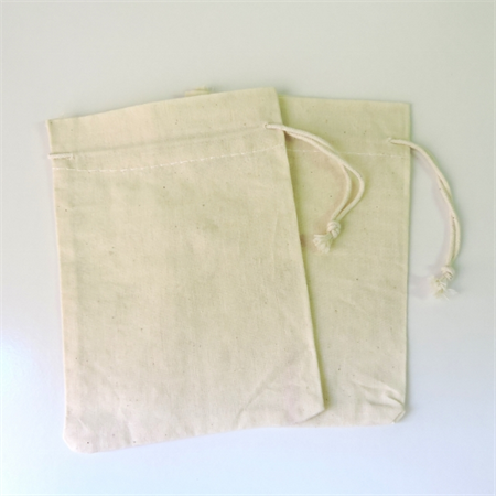Calico muslin drawstring bag - 6 x 4.5 inches - set of 2