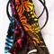Batik Thai sarong, pareo beach wrap, handpainted fabric BLACKLIGHT FLUORO leaves