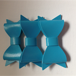 3 x Blue Faux leather bow