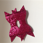 2 x Hot Pink glitter bows