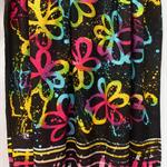 Batik beach Thai sarong pareo cover up wrap fabric BLACKLIGHT FLUORO flowers