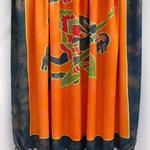 Batik beach Thai sarong pareo cover up wrap fabric ORANGE INDIGO tribal