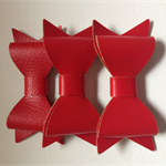 3 x Red Faux leather bow