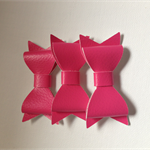3 x Hot Pink Faux leather bow