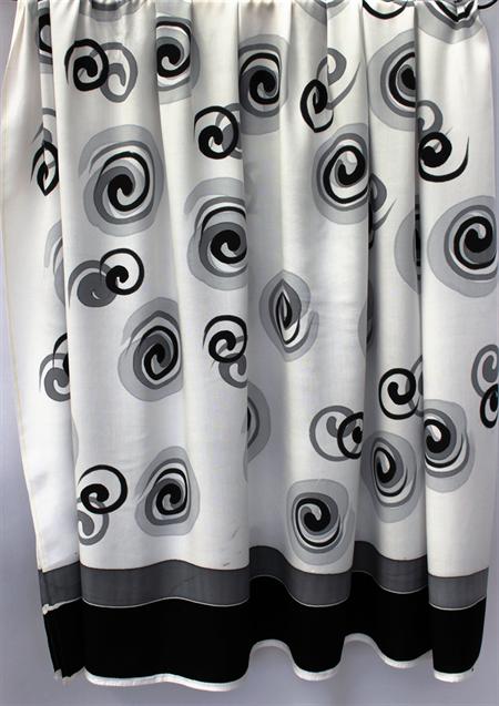 Batik Thai sarong, pareo beach wrap, handpainted fabric, BLACK GREY circles