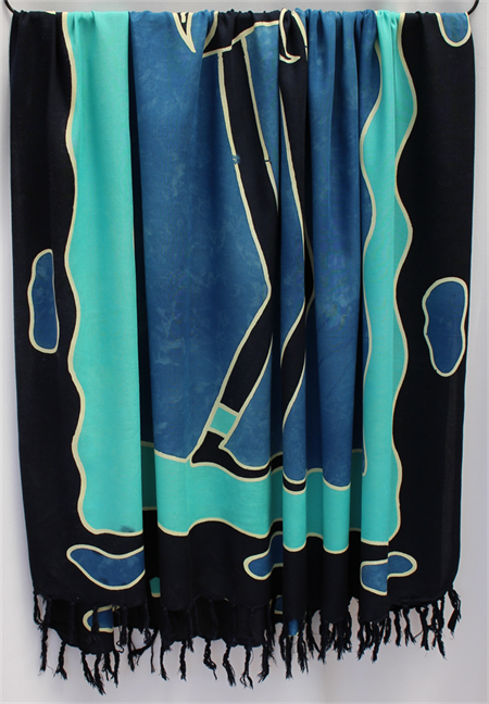 Batik Thai sarong, pareo beach wrap, handpainted fabric, BLUE BLACK tribal