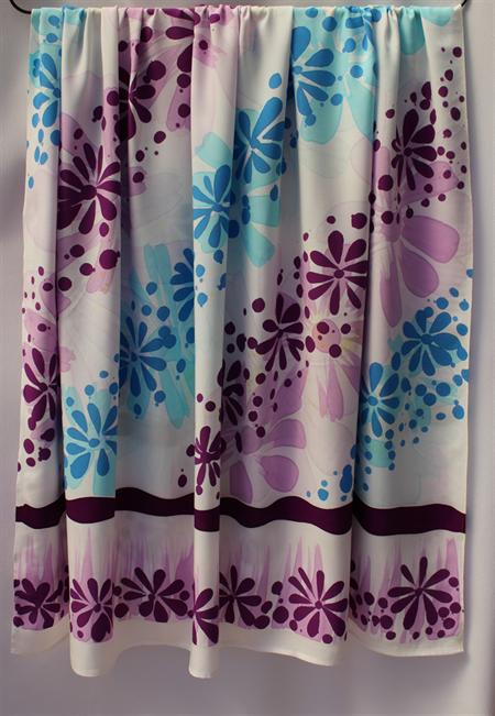 Batik beach Thai sarong pareo cover up wrap fabric PURPLE BLUE flowers