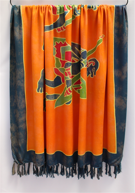 Batik Thai sarong, pareo beach wrap, handpainted fabric, ORANGE INDIGO tribal