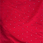 Red Cotton Broderie Anglaise fabric with small embroidered circles. Stunning!