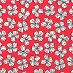 3 Paper Napkins for Decoupage / Parties / Weddings - White Flowers on Red