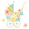 3 Paper Napkins for Decoupage / Parties / Weddings - Flower Pram